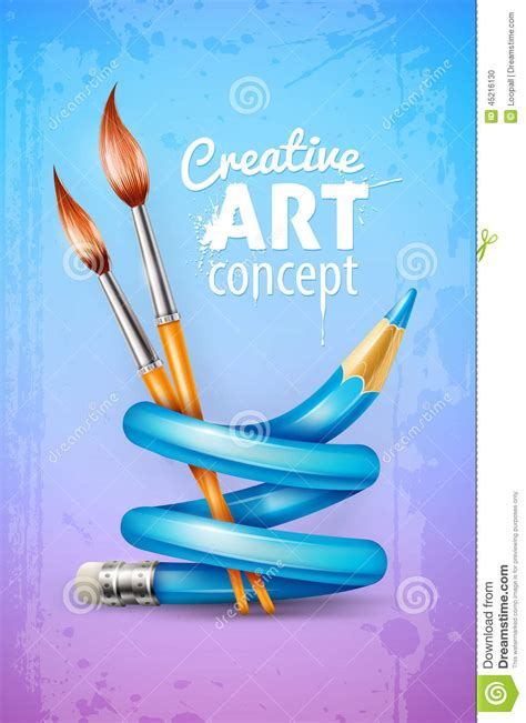 pattern making in creative art creative art concept with twisted pencil and brushes for
