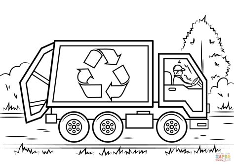 coloring page truck recycling truck coloring page free printable coloring pages