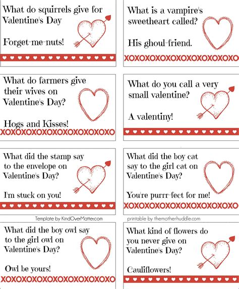 printable valentine jokes printable valentine joke notes crafthubs walentynki