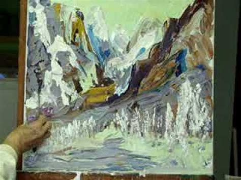 acrylic painting with knife mountain acrylic painting with palette knife by millie