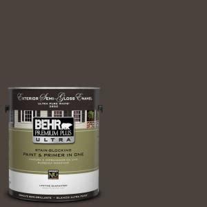 behr premium plus ultra 1 gal ul160 23 espresso beans semi gloss enamel exterior paint 585301