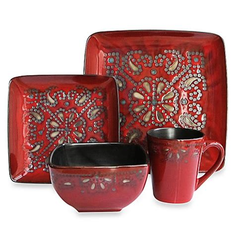 bed bath and beyond dishes buy american atelier marquee 16 piece dinnerware set in red from bed bath beyond