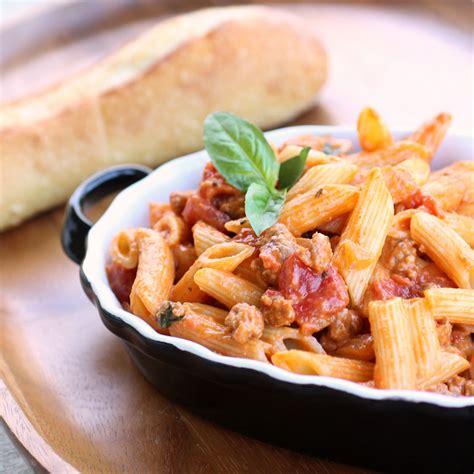 pasta sausage creamy sausage and tomato pasta