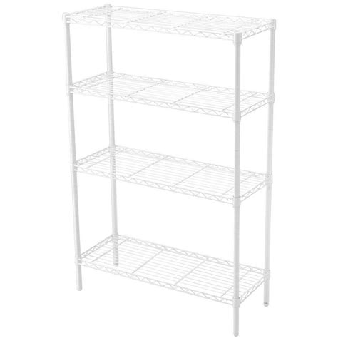 white wire rack shelving closetmaid superslide 72 in w x 16 in d white ventilated