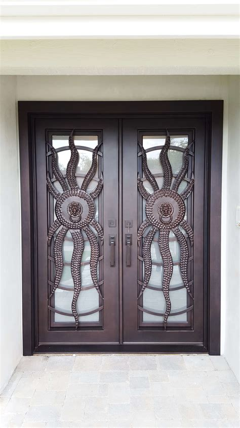 sunrise square top double entry iron doors   front