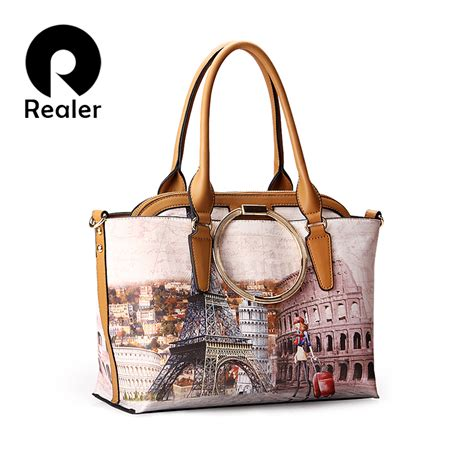Eiffel Tower Bag Fashion realer brand fashion eiffel tower printed bags