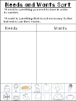 kindergarten activities needs and wants needs and wants sort freebie by michele olson tpt