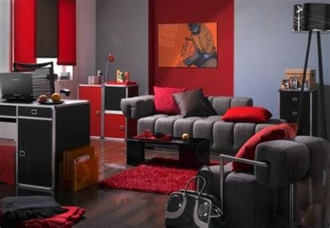 red and gray living room grey walls grey couch red accents family room must