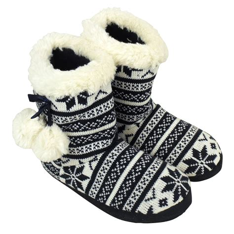 womens size 13 house slippers bootee slipper womens quality furry ankle boot eskimo slippers sizes 5 10 ebay