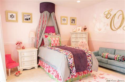 blue and pink girls bedroom design reveal pink girls bedroom little crown interiors