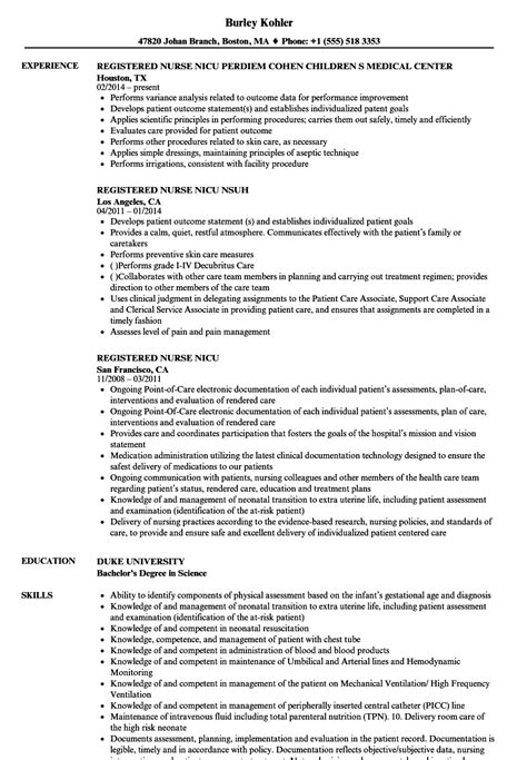 wonderful resume nicu photos exle resume ideas