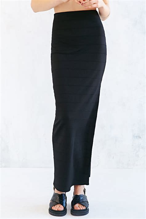silence noise high waist fitted maxi skirt in black lyst