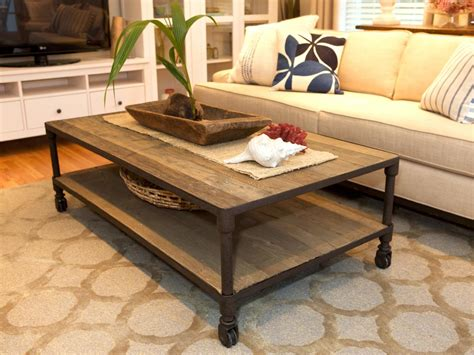 rustic details a reclaimed lumber coffee table features