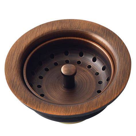 SINKOLOGY Kitchen Sink 3.5 in. Strainer Drain with Post Styled Basket in Antique Copper TB35 01