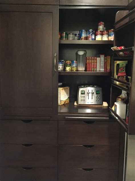 Pantry Breakfast pantry breakfast cabinet with plugged in toaster and