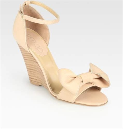 valentino leather bow wedge sandals in beige lyst