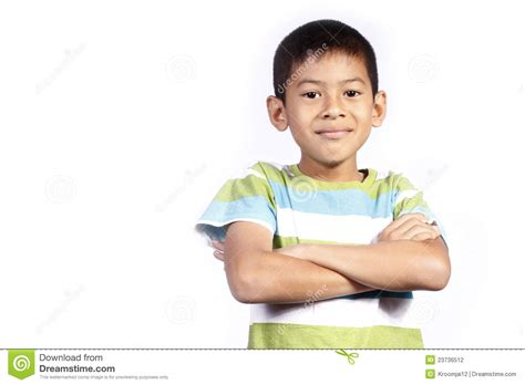 young crossbreed asian young boy cross one s arm stock photography image