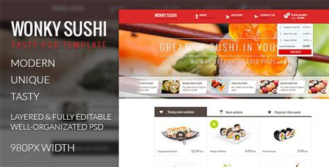 Wonky Sushi Tasty Psd Template By Pixel Fabric Themeforest Sushi Menu Template Free