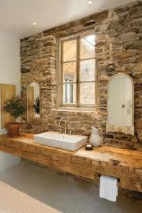 stone bathroom design with wood sink top sculptural rough digsdigs