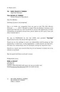 Resignation Letter Cc by Resignation Letter