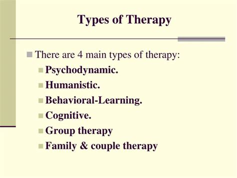different types of therapy ppt introduction to psychotherapy powerpoint