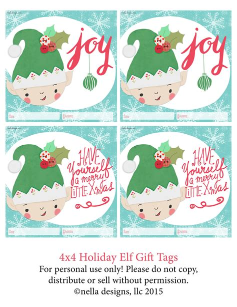 free printable elf name tags free printable elf gift tags nella designs