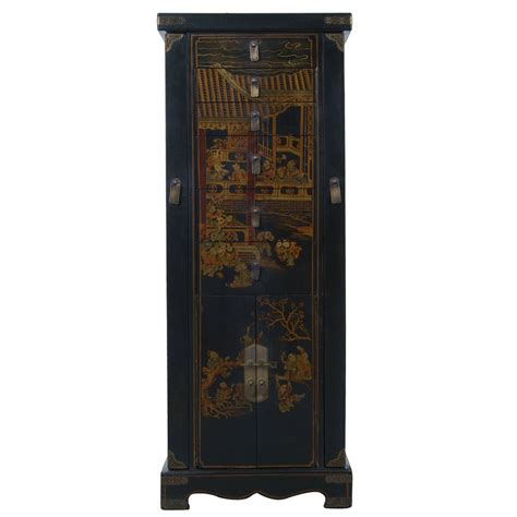 chinese armoire black leather hand painted oriental jewelry armoire