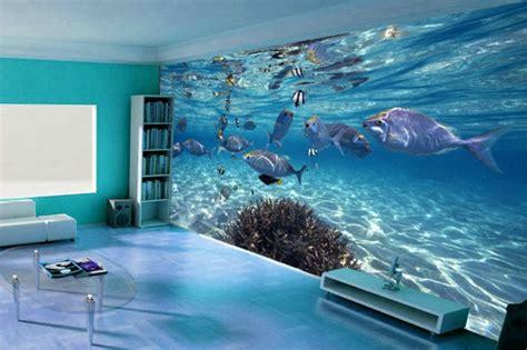 kinderzimmer wandgestaltung blau unterwasserwelt wandgestaltung im wohnzimmer