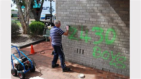 spray painter taree photos graffiti vandals hit council chambers great