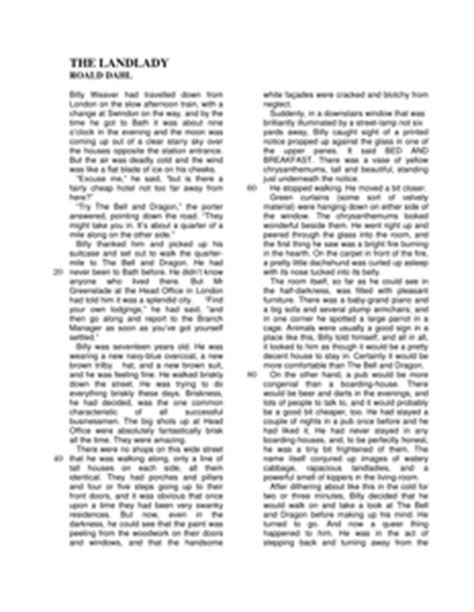 Short Story Structure - The Landlady - Resources - TES