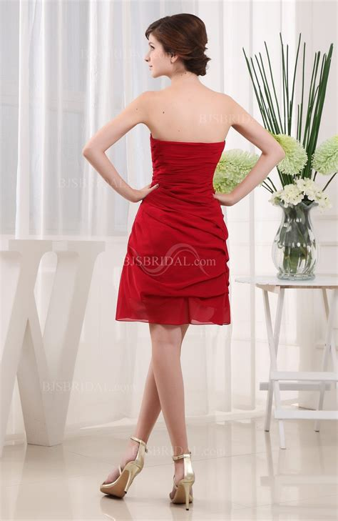 red cute strapless backless chiffon short cocktail dress