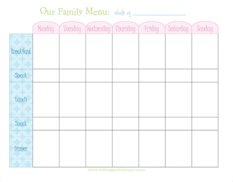 free printable meal planner template naturally creative freebie weekly menu planner