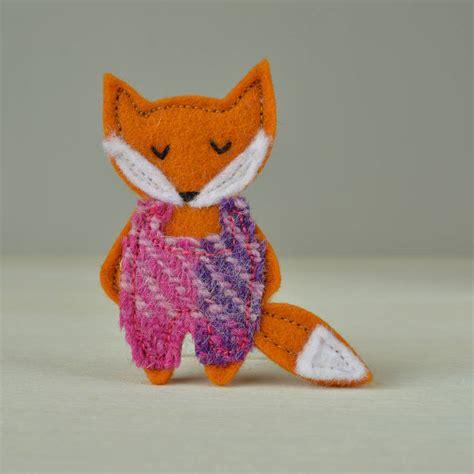 Handmade Fox - handmade fox brooch with harris tweed dungarees by