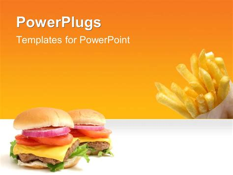 Powerpoint Template Fast Food Theme With Burger And French Fires With Yellow Color 11879 Food Powerpoint Templates Free