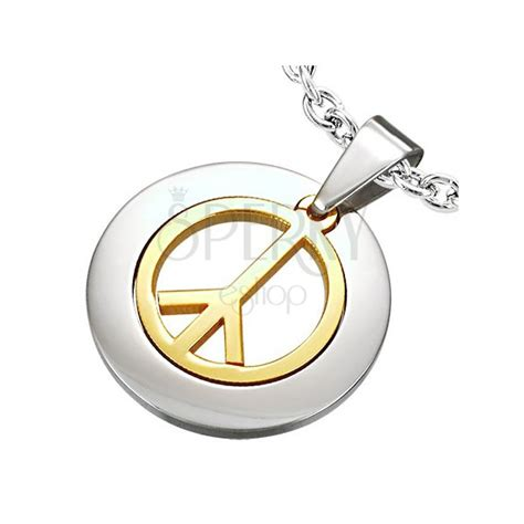 what is surgical steel made of pendant made of surgical steel with peace sign in gold