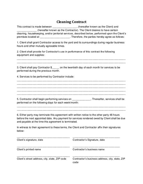 clean agreement template cleaning contract free printable documents