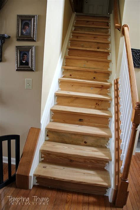 Interior Wood Stairs by Stair Project Begins Removing The Carpet And Prepping The Wood Tempting Thyme