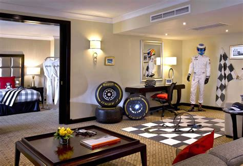 hilton create dream f1 hotel room inspired by jenson hilton abu dhabi rolls mclaren honda themed suite