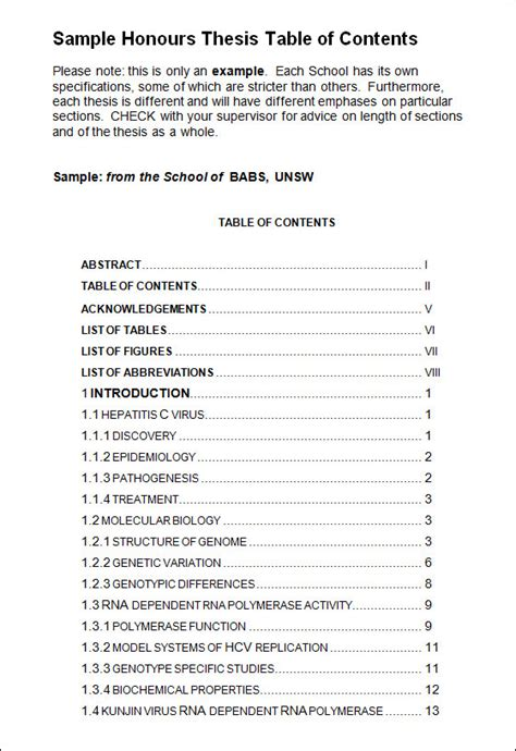 avery table of contents template business template