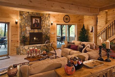 Rustic Walls And Ceilings by Gas Fireplace Carpeted Walk Out Basement With Rustic