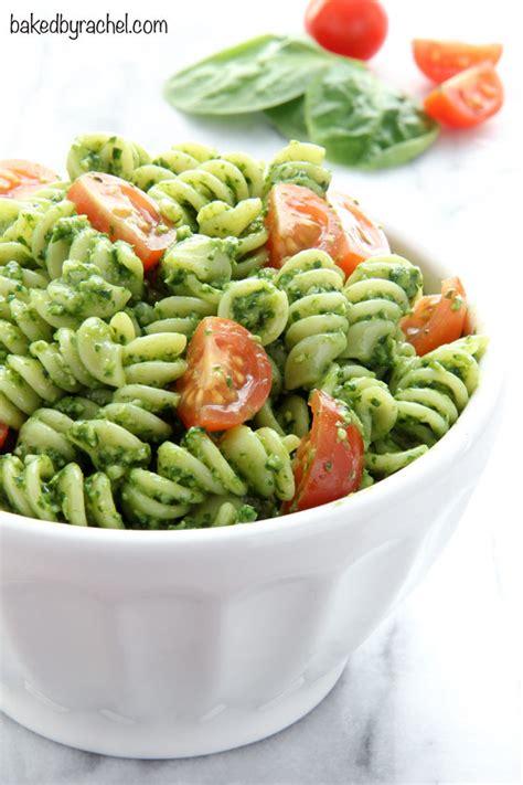 pasta salad pesto spinach pesto pasta salad baked by rachel
