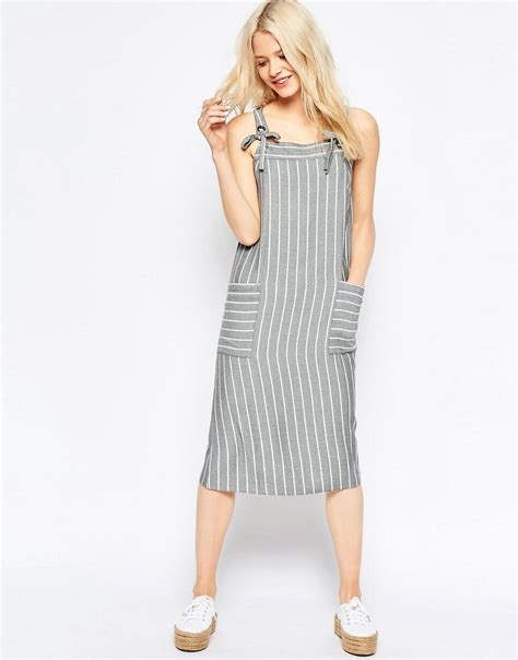 Asos Striped Dress asos striped midi pinafore dress in grey lyst