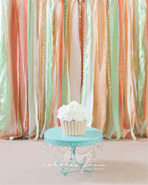 Mint Green Baby Shower by Coral Peach Mint With Gold Sparkle Sequin Fabric Backdrop