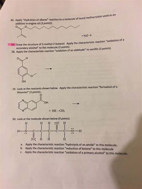 hydration questions and answers solved apply quot hydration of alkene quot reaction to a molecule