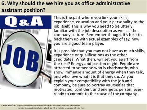 top 10 office administrative assistant questions