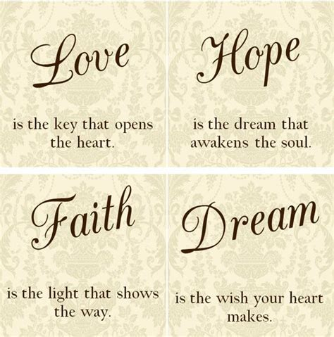 tattoo quotes dreams hope belief love hope faith dream tile coasters set of by