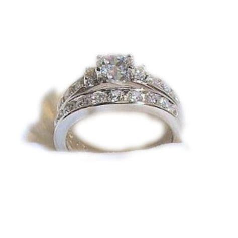 14k white gold 925 sterling engagement wedding ring set 6