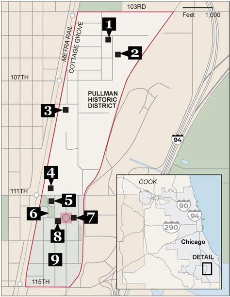 chicago map landmarks pullman s points of interest chicago tribune