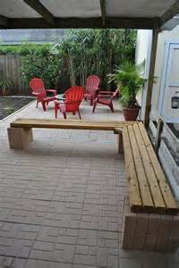 Cinder Block Patio Furniture by Furniture L Shaped Cream Cinder Block Bench With Soft