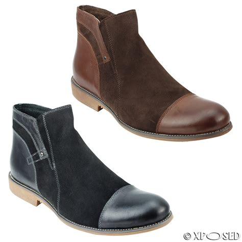 Humm3r Babon Brown Suede With Real Pic mens black brown suede real leather italian style side zip vintage ankle boots ebay